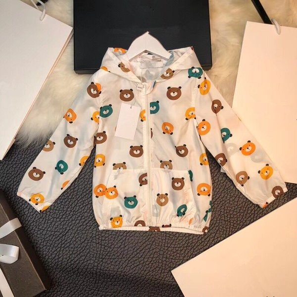 2018 spring&summer boys girls jackets Fashion Little Bear casual hooded outerwear for girls zipper kids Sunscreen clothing
