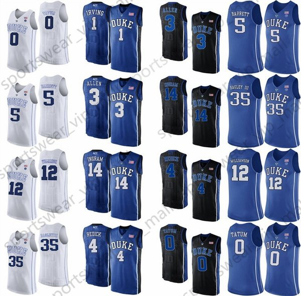 Mens Blue Devils Jersey Duke Blue Tatum RJ Barrett Zion Williamson Allen Kyrie Irving Grayson Jayson Stitched College Basketball Jerseys