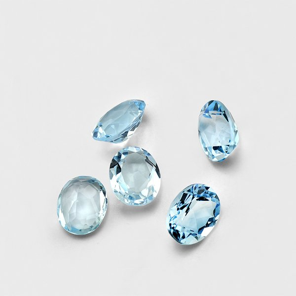 20pcs Oval 3*5mm 4*6mm 5*7mm High Quality Eye Clear Good Brilliant Cut 100% Natural Sky Blue Topaz Loose Gemstones For Gold & Silver Jewelry