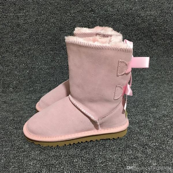 63ba7ec034 Kids EU21-35 Girls Ugs Australia Snow Boots Cute Bowtie Back Leather  Waterproof Winter Short