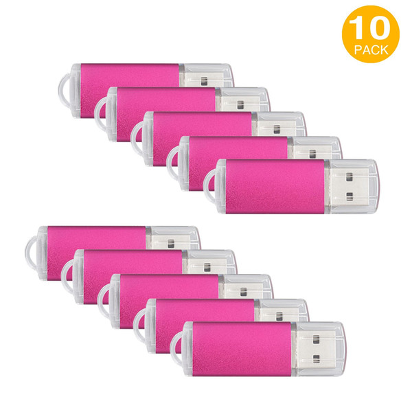 Pink 10PCS Rectangle USB 2.0 Flash Drives Enough Pen Drive Thumb Memory Stick Storage 64M 128M 256M 512M 1G 2G 4G 8G 16G 32G for PC Laptop