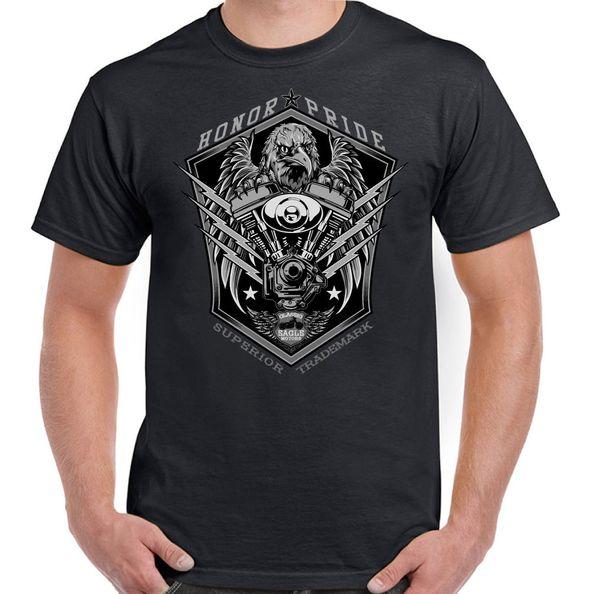 Classic Eagle Motors Mens Biker T-Shirt Motorcycle Motorbike Bike Indian USA