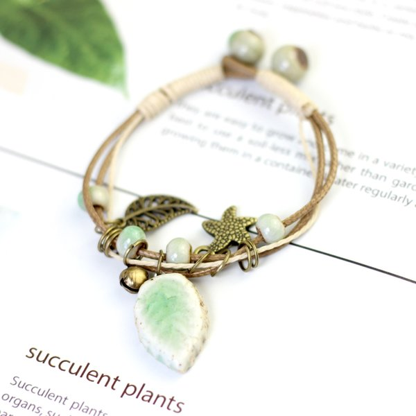 Summer Style Fresh Green Leaf Ceramic Bracelet & Bangles for Women Simple Multi-layer Bracelet Alloy Leaf Bell