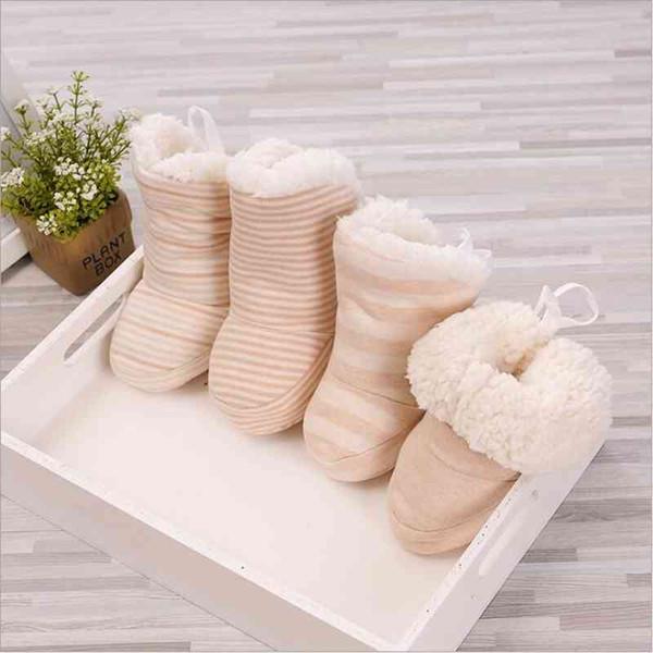 Scarpe ispessite a righe colorate organiche Per bambini coperte invernali di cotone Bambino neonato in pelle di agnello neonato caldo morbido fondo in cotone