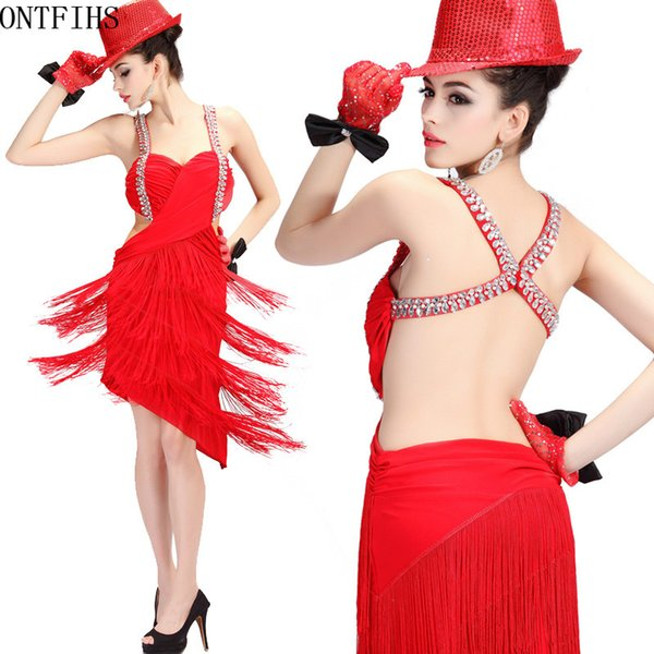 ONTFIHS Latin Dancing Dress Costume Tassel Latin Dresses Red Sexy Hand Dimond Nail Drill Practice Competition Suit L-18