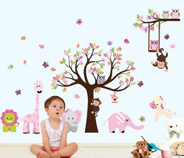 Selva Animais Árvore Adesivo De Parede Coruja Macaco Leão Girafa Removível Art Vinyl Mural Em Casa Do Berçário Do Bebê Caçoa o Quarto Decoração