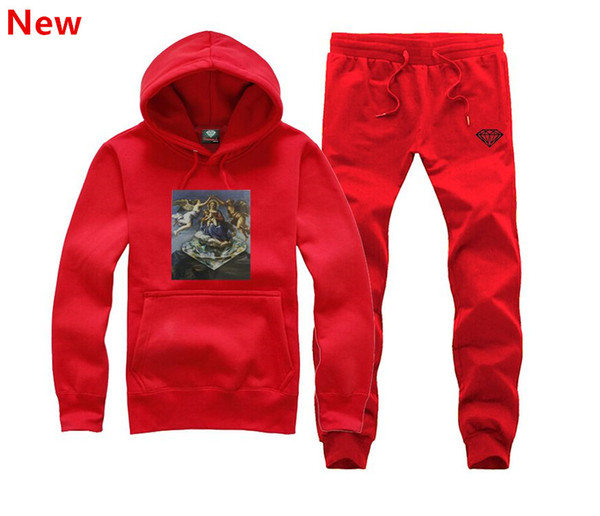 New Diamond Supply sweat suit Autumn sportswear sport men clothes track suits tracksuits male sweatshirts +Pants Plus Size 3XL H11
