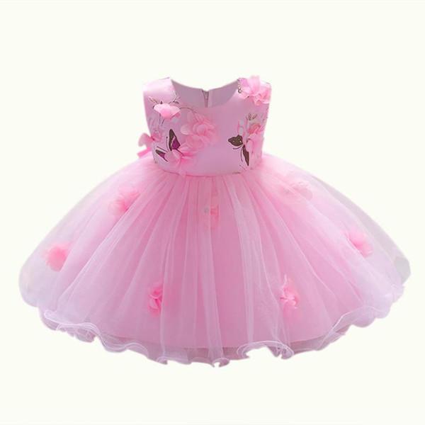 Vestido de fiesta con flores en 3D Niñas Bebés Bebés Princesa Vestidos de cumpleaños con cuello en O