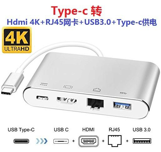 New Arrival 5in1 Multi Type C USB Hub To HDMI 4K+RJ45 Network card And Type c PD Charging For Macbook