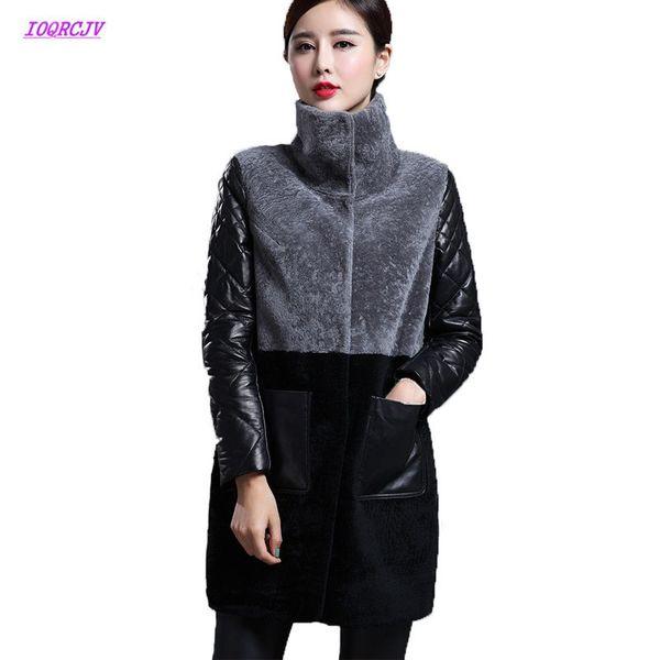 Women Sheep Shearing Fur Coat Women Winter Lamb Splicing PU Leather Jacket Parka Jackets 2018 Long Down Jacket Warm Outcoat W228