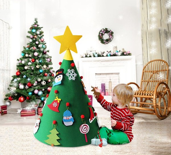 Children Christmas Tree Decorations.Xmas Tree Decor 3d Diy Felt Toddler Christmas Tree New Year Kids Gifts Toys Artificial Tree Xmas Home Decoration Hanging Ornaments Commercial