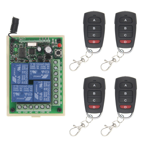 10A DC 12V 24V 4 Channel 4CH RF Wireless Remote Control Switch System Receiver & Transmitter, 315 433 MHz Momentary