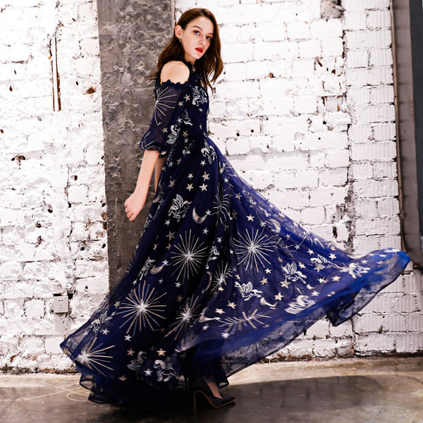 Sparkly Cheap Sexy 2018 Evening Dresses Crew Lace A-line Lace Prom Dresses Navy Blue Bridesmaid Formal Party Gowns