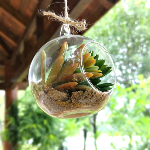top popular Ball Globe Shape Clear Hanging Glass Vase Flower Plants Terrarium Container Micro Landscape DIY Wedding Party Gift 2021
