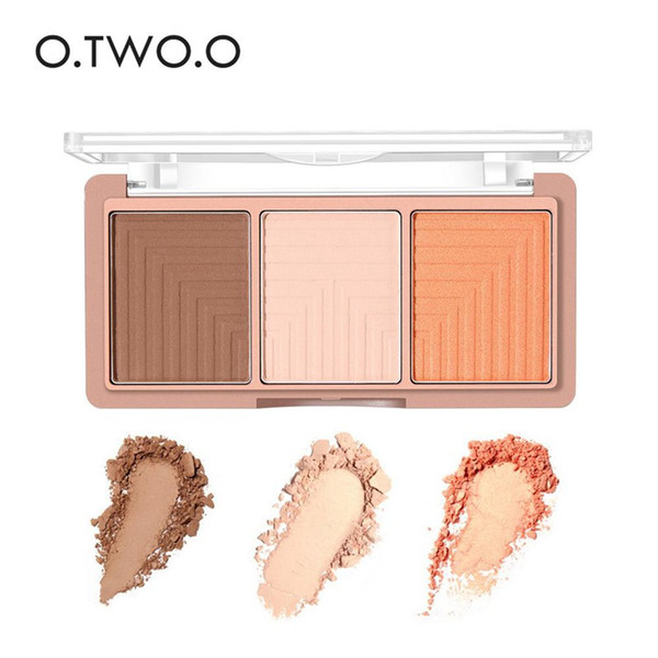 O.TWO.O brand 3 Colors Highlighter Illuminator Powder Palette Makeup Face Rose Gold Contour Bronzer Highlight Shading Powder
