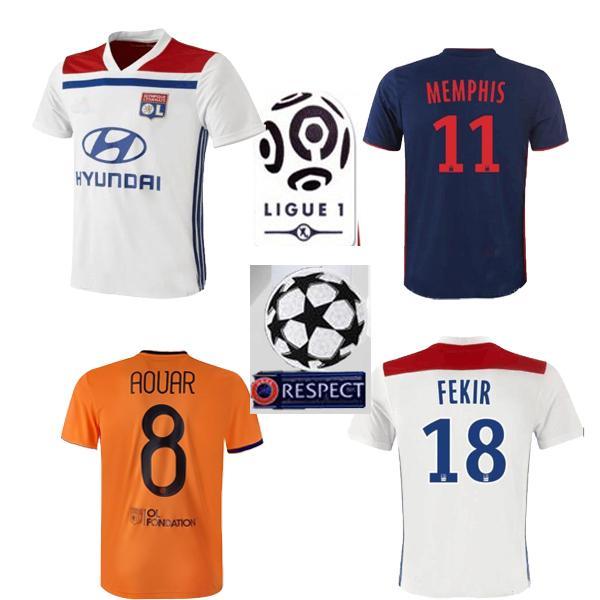 4683c7d8 2018 Olympique Lyonnais home 18 FEKIR soccer jersey 2019 lyon third  champion TRAORE football shirt LACAZETTE