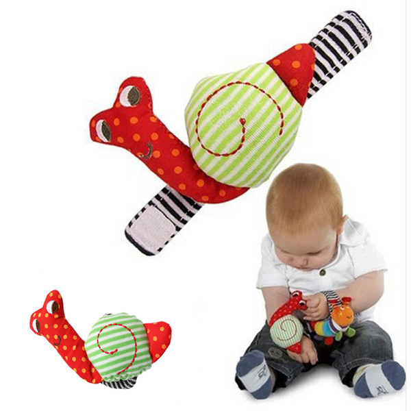 Cute Newborn Baby Rattle Toy Cartoon Snail Cotton Wrist Strap Soft Infant Plush Hand Bells Kids Intelligence Development Toys