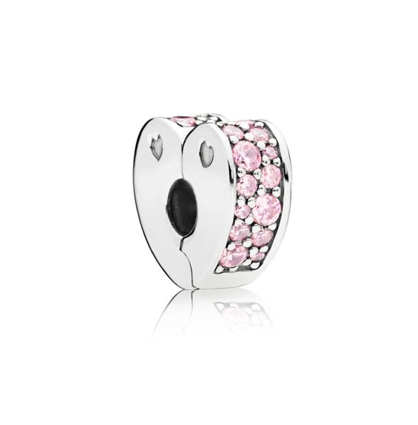 New Authentic 925 Sterling Silver Bead Charm Pink & Clear Arcs of Love Heart Clip Lock Stopper Bead Fit Pandora Bracelet Diy Jewelry