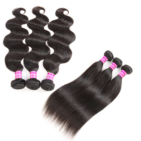 10A Grade Brazilian Virgin Hair Straight Human Hair Weaves 3 Bundles 16 inches body Wave Wefts remy Hair Extensions Natural Color Wholesale
