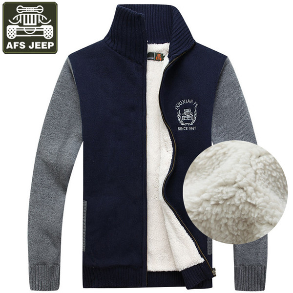 Großhandel AFS JEEP Herren Pullover Cardigan Herren Fleece Pullover Dicker Winter Warm Pull Homme Cardigan Herren Standard Woll Pullover Homme 3XL Von