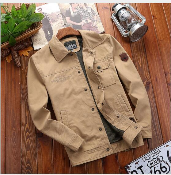 Men Jackets and Coats Autumn 2018 New Army Military Pockets Design Nets Inside Plus Size Loose Casual Washed Cotton