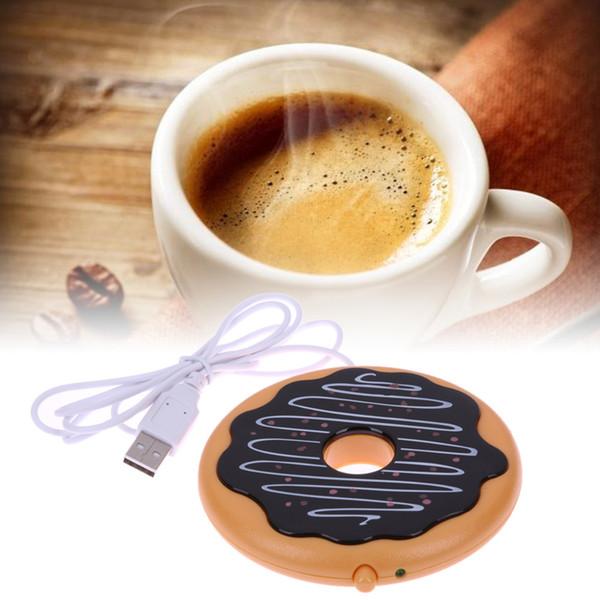 Creative Donut Géant USB chauffe-tasse Mignon Hot Cookie Mug Warm Warm Coaster Bureau Thé Café Boisson alimenté USB Chauffage Biscuit Plateau Pad