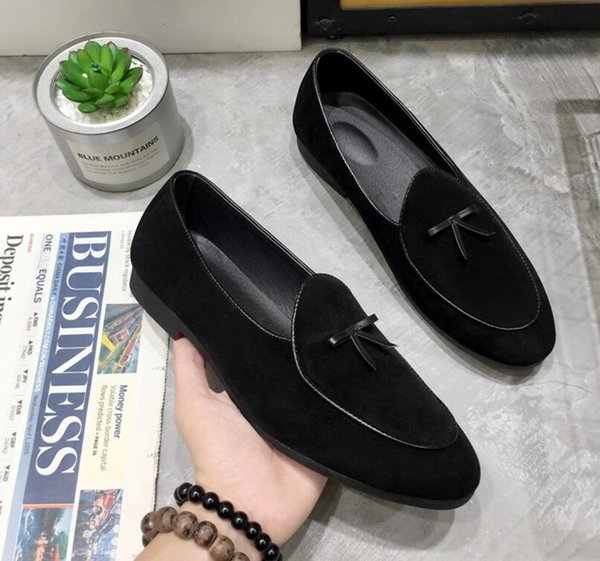 Men/'s Leather Slippers Loafers Belgian Dress Shoes Slip on Flats With Bowtie New