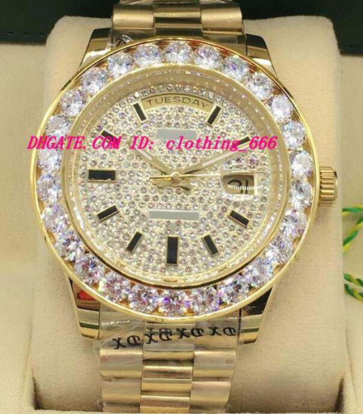 New Style Luxury Watches 2 Style 18K Yellow Gold Diamond Dial 41mm Bigger Diamond Bezel Automatic Fashion Men's Watch Wristwatch