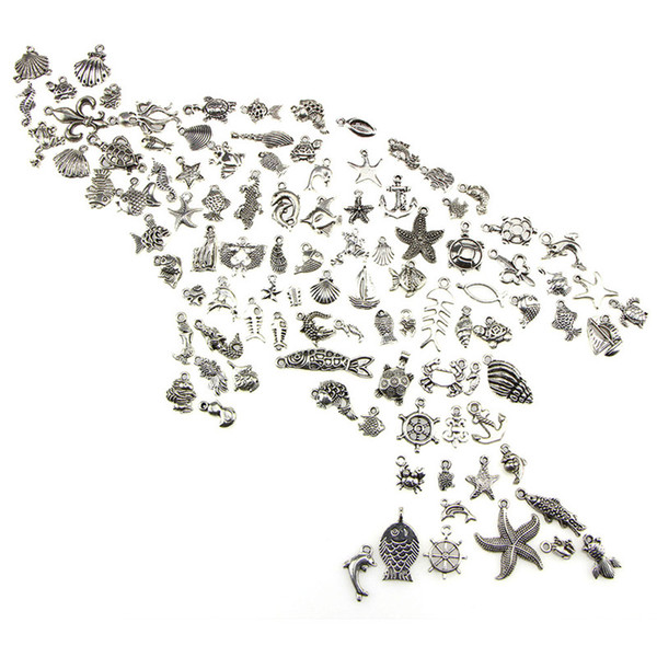 100PCS DIY Charm Handmade Crafts Silver Mini Ocean Dolphin Shell Pendant Bulk Lots Mixed Charms Antique Jewelry Making