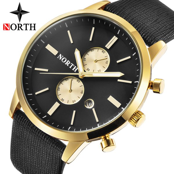 NORTH Mens Watches Top Brand Luxury Quartz Gold Watch Men Casual Leather Military Waterproof Sport Wrist Watch Relogio Masculino Y1892107