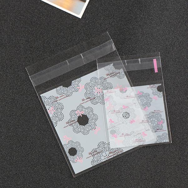 Sacchetti di imballaggio autoadesivi Sacchetti di biscotto di plastica svegli Imballaggio Stile per matrimonio Fiore Spuntini Sacchetto di immagazzinaggio sacchetti di campionamento Sacchetto di caramelle di fascia alta PB05