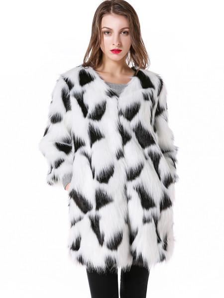 2018 Yeni Tasarımcı Beyaz Faux Kürk Ceket Kadınlar Zarif Kış Ceket Kadınlar Uzun Kürklü Ceket manteau femme