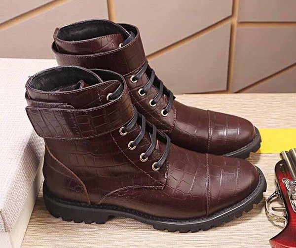 2018 Spring Fall Black Brown men Leather Boots Round Toe Oxford Ankle Boot Ladies Martin Motorcycle Boots Shoes men Plus