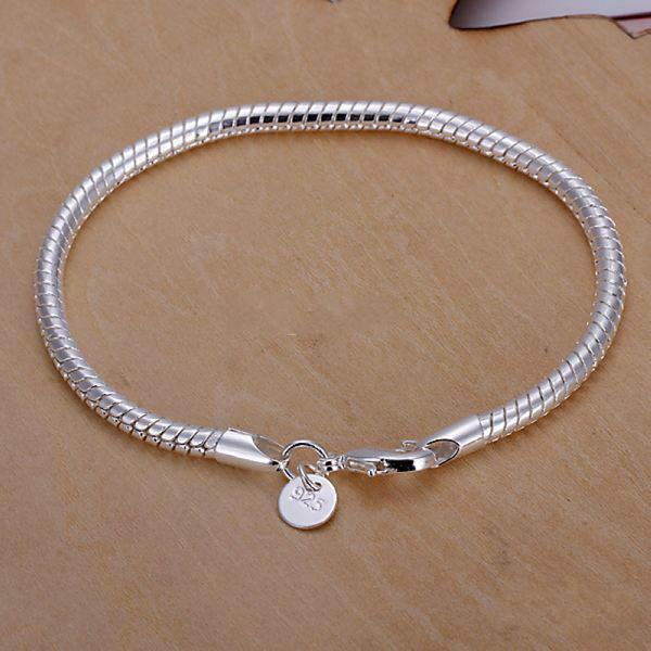 best Christmas 925 silver plated gift jewelry 3mm 8inch fashion jewelry charm snake chain bracelet Lowest cheap price