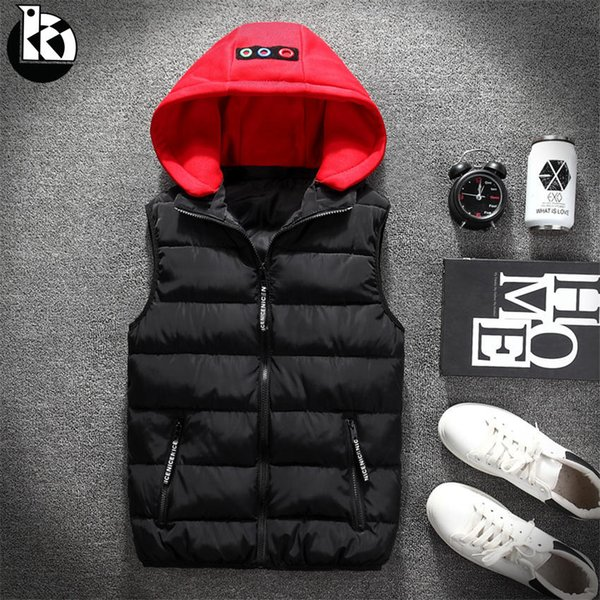 Winter New Solid Color Loose Casual Hooded Sleeveless Winter Vest Men Fashion Japanese Trend Four-color Young Mens Warm Vest