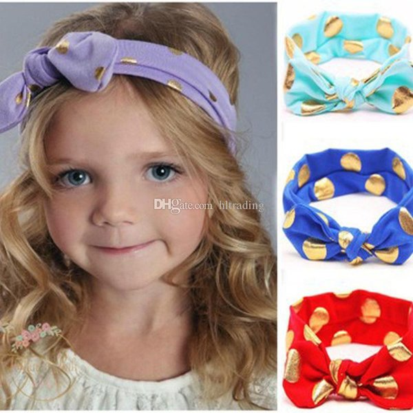 Baby Girls Bronzing Dot Knot Elastic Hairbands cute Knotted Bow headband Boutique kids Hair Accessories C4597