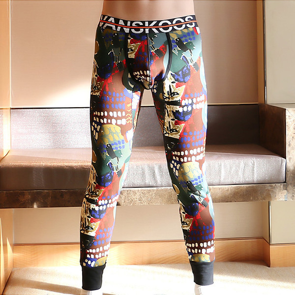 Men Thermal Underwear Winter Warm Fleece Thermo Pants Printed Sexy Pouch Slim Fit Mens Leggings Long John Clothes M-XXL Size