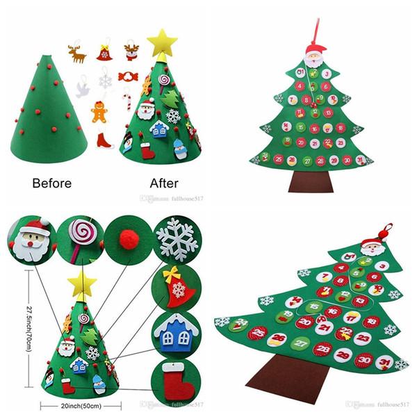 3d Diy Toddler Friendly Felt Christmas Tree Fabric Christmas Tree Calendar Wall Hanging Calendars Kids Xmas Gift For Christmas Decorations Xmas Home