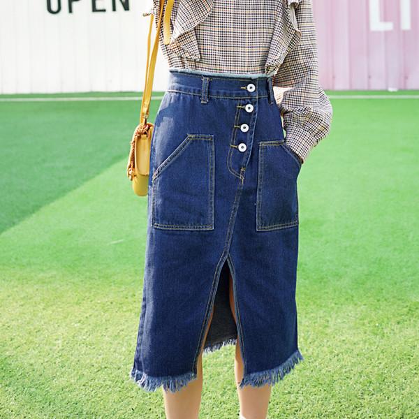 limiguyue осень зима синий женщины джинсовые юбки кнопка сплит карманы высокая талия взлетно-посадочной полосы юбка длинные юбки женские джинсы Z0883