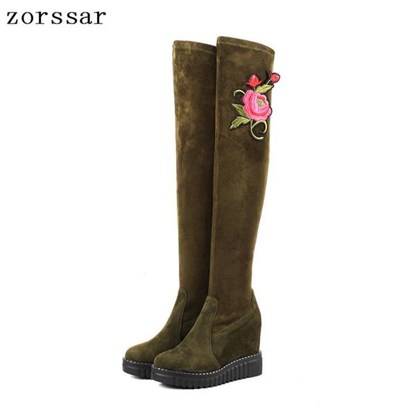 {Zorssar} Kid Camurça De Couro Feminino Botas Altas Mulheres Sobre O Joelho Botas De Salto Alto Sapatos de Plataforma Cunha Mulheres Inverno Neve