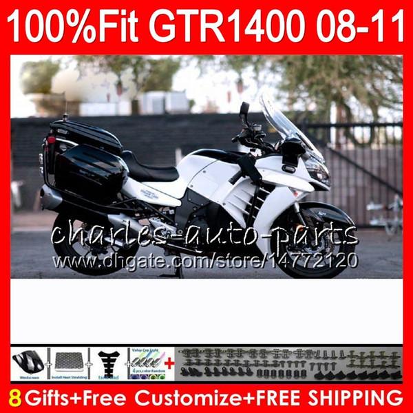 KAWASAKI NINJA Stok GTR1400 İçin Enjeksiyon Gövdesi Parlak beyaz 08 09 10 11 116HM.7 GTR-1400 GTR 1400 2008 2009 2010 2011 Fairing Kit + 8Gifts