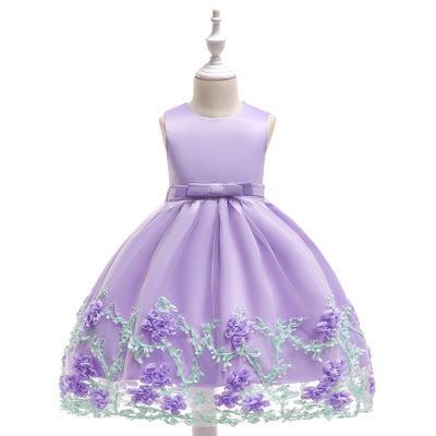 Cute Blue White Pink Little Kids Infants Flower Girl Dresses Princess Jewel Neck Short Formal Wears for Weddings First Communion