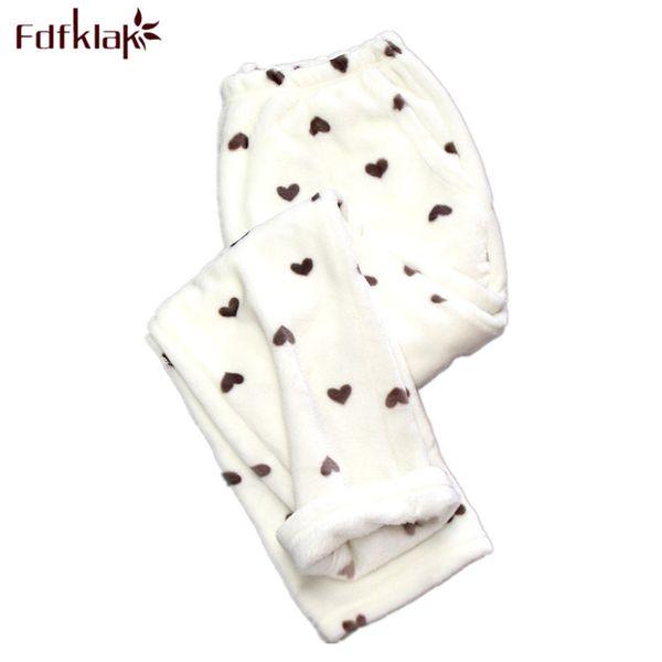 Fdfklak Winter Flannel Sleep Bottoms Pigiama Pantaloni Pantaloni da donna Per donna più spessa Caldo Pantaloni da donna Pijama Pantaloni Q539