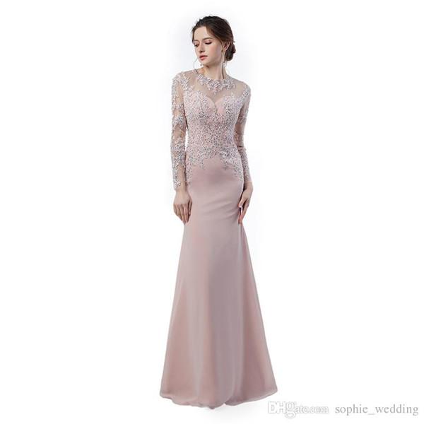 Elegant Evening Dresses Vestidos Longos Para Formatura 2018 Long Sleeve Prom Dresses Mermaid Cheap Long Party Gowns