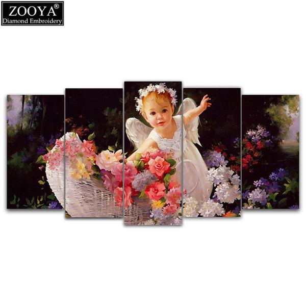 Zooya 5d Diy Diamante Bordado Angel Garden 5 unids Multi-Cuadro Combinación de Diamantes Pintura punto de Cruz Rhinestone Decoración