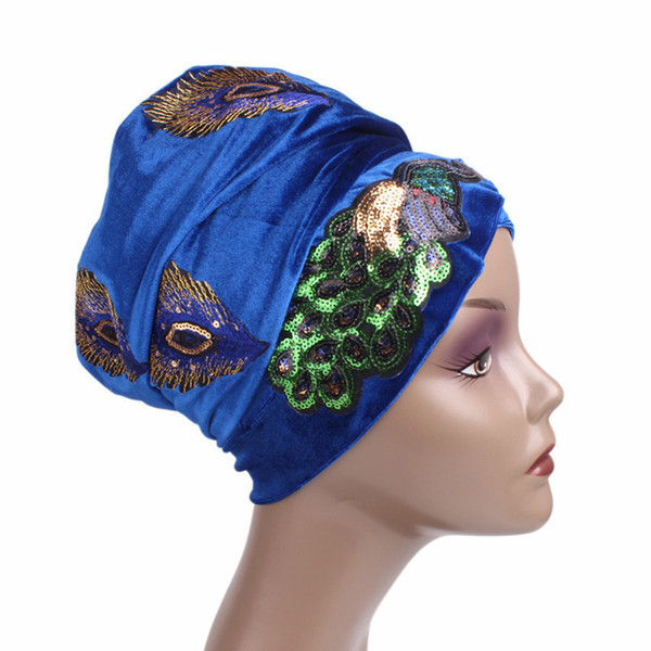 Turban Head Wraps Hijab Long Head Écharpe Turbante Women Bandanas Velours Pailleté Peacock Broderie Velours Nigérian 6 couleurs chapeau