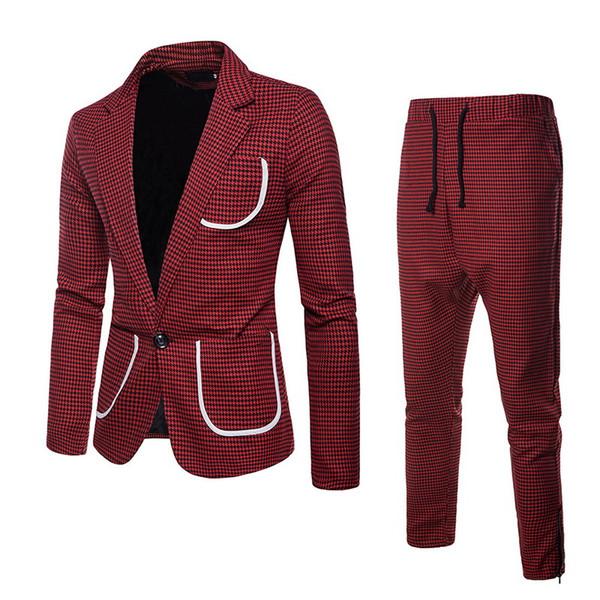 CALOFE 2 Pieces Business Suit Men Casual Slim Fit Social Blazer Pants Suit Set Autumn Fashion Plaid Print Mens Wedding Suits