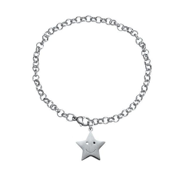 Wholesales Smile Star Titanium Steel Pendant Ankle Bracelets Silver Chain Foot Stainless Steel Women Luxury Designer Jewelry Love Bracelets