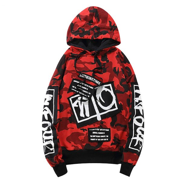Acheter Armée Vert Rouge Camouflage À Capuche Hommes Sweat À Capuche Pull Streetwear Surdimensionné Hommes Pulls Hip Hop Camo Hoodies Mâle De $92.72