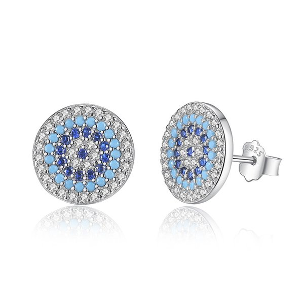 3 Styles 925 Sterling Silver Evil Eye Stud Earrings Clear Crystal Earrings for Women Fashion Jewelry Accessories Gift Free Shipping